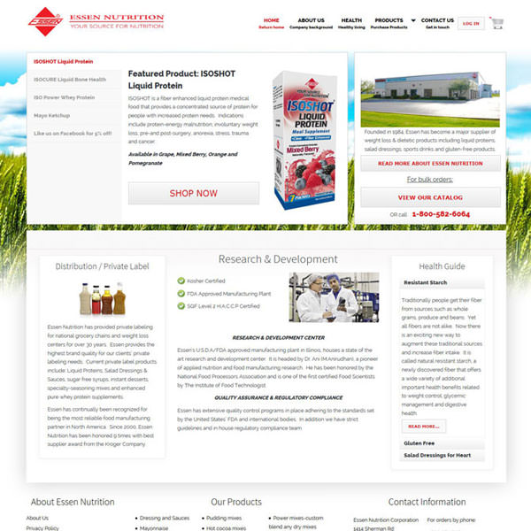 Virgo Web Design Portfolio - Essen Nutrition
